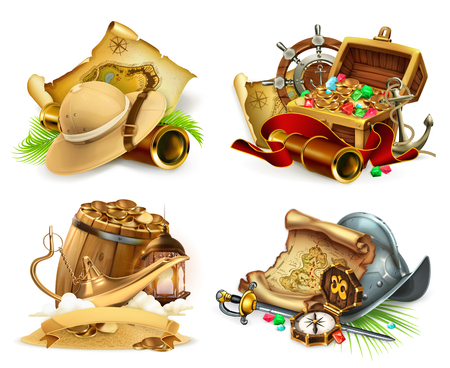 Treasure hunt and adventure, game icon. 3d vector icon set Illustration