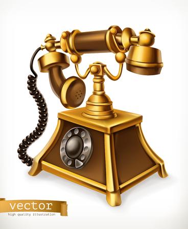 Vintage phone, 3d vector icon illustration.