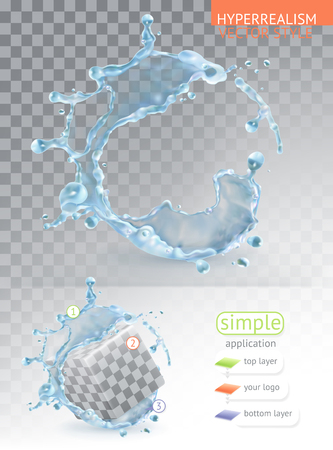 Water splash with transparency, hyper-realism vector style simple application.