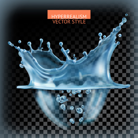 Water splash with transparency, hyperrealism vector style Çizim