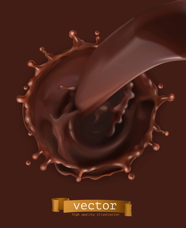 Chocolate flow, drops and splash 3d vector icon.