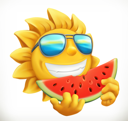 Fun summer sun with watermelon 3d vector icon. Illustration
