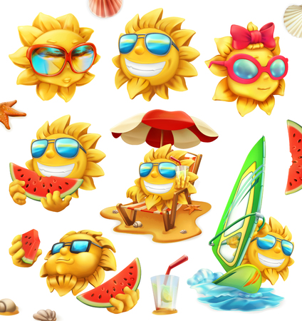 Fun summer sun, vector characters 3d vector icon. Illustration