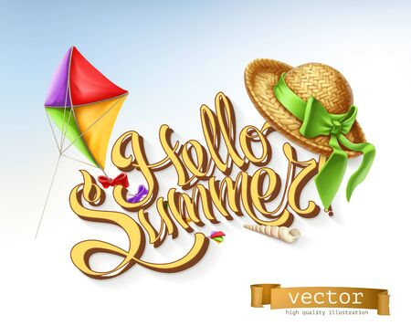 Hello summer lettering, vector illustration. Illustration