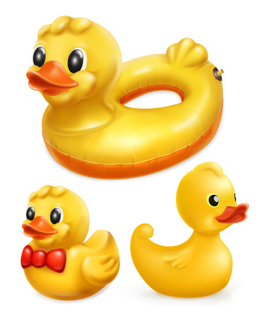 Rubber ducks 3d vector icon.