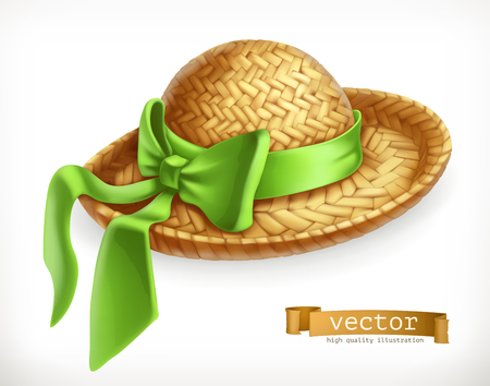 Straw hat 3d vector icon.