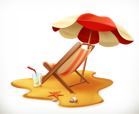 Beach umbrella and lounge chair, 3d vector icon. Illustration