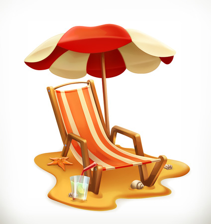 Beach umbrella and lounge chair 3d vector icon.