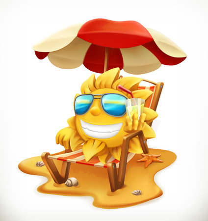 Beach umbrella and sun. 3d vector icon.