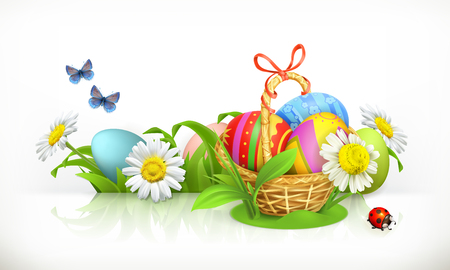 Easter, basket and eggs. Spring flowers 3d vector banner. Illustration
