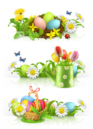 Easter, Spring flowers 3d vector banner set.