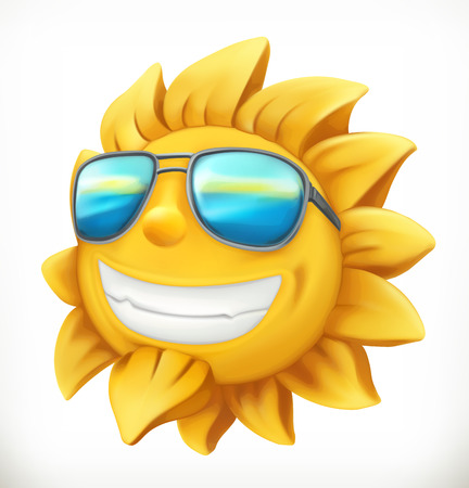 Fun summer sun. 3d vector icon. Illustration