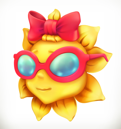 Fun summer sun. Little girl, 3d vector icon.