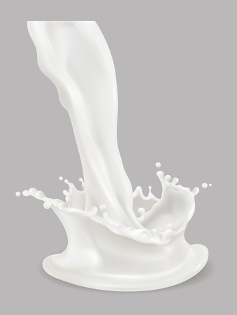 Milk splash 3d vector icon.