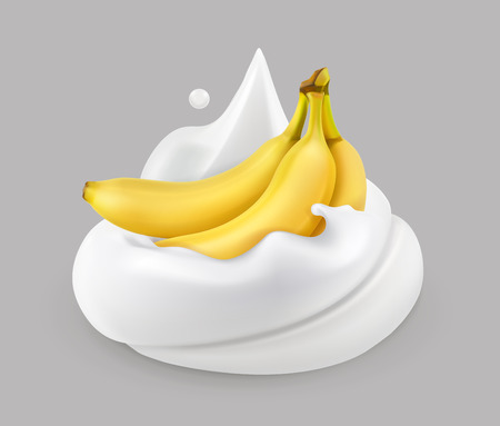 Whipped cream and banana, vector icon. Illustration