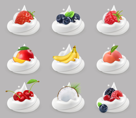 Whipped cream with fruits and berries, 3d vector icon set
