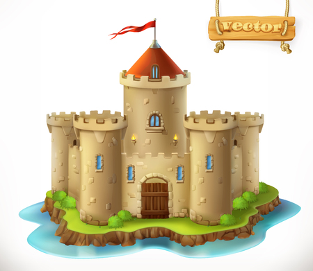 Castle, 3d vector icon Illustration