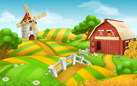 Farm field landscape, 3d vector background Illustration