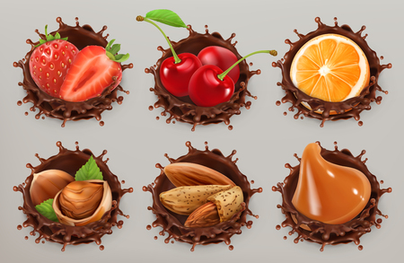 Fruit, berries and nuts. Realistic illustration. Chocolate splash 3d vector icon set
