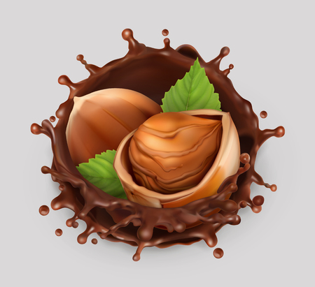 Hazelnut and chocolate splash. Realistic illustration. 3d vector icon Vectores