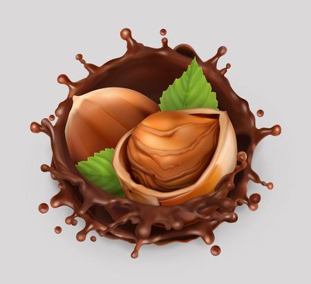 Splash de noisette et de chocolat. Illustration réaliste. Icône de vecteur 3d