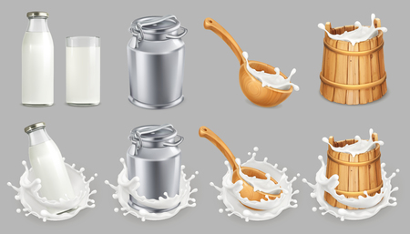 Milk can and splash. Natural dairy products. 3d vector icon set