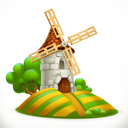 Mill, 3d vector icon.