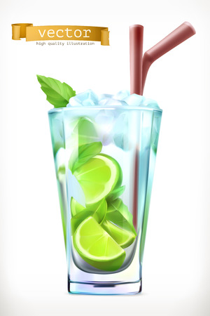 Mojito, Summer Cocktail 3d vector icon