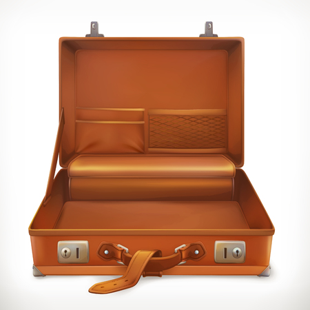Open suitcase, 3d vector icon