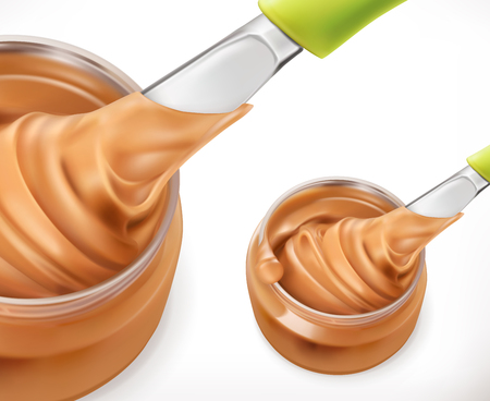 Peanut butter, 3d vector icon Çizim