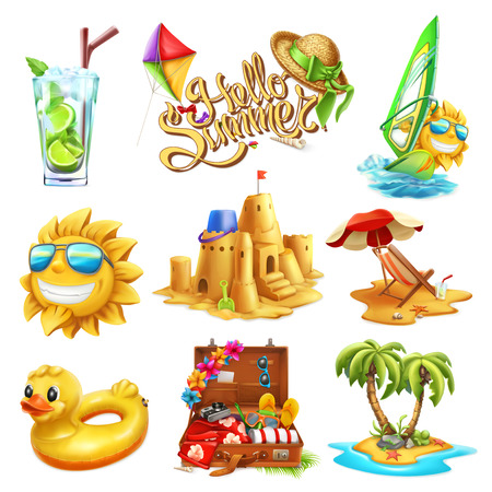 Summer set. 3d vector icon Illustration