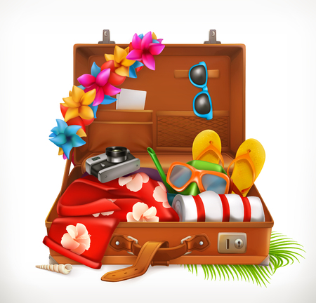 Tropical Holidays. Summer vacation, open suitcase. 3d vector icon Vectores