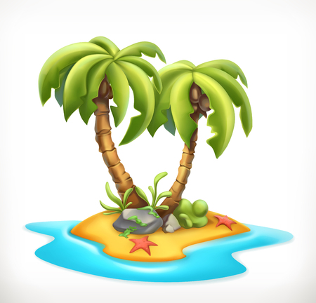 Tropical island, 3d vector icon