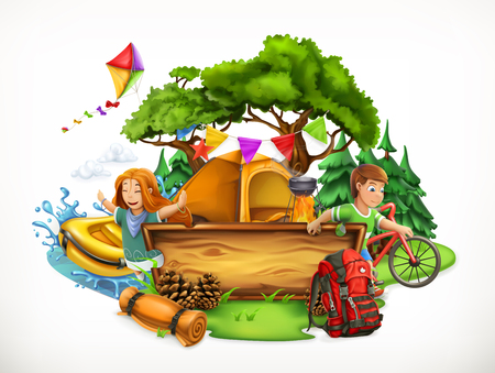 Summer camp. Camping and adventure, 3d vector illustration