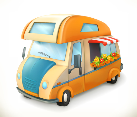 Travel trailer. Camping, 3d vector icon Illustration
