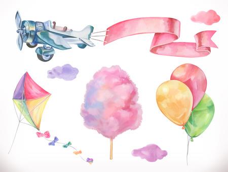 Aquarel lucht. Vlieger, vliegtuig, suikerspin en wolken, ballonnen. Vector icon set