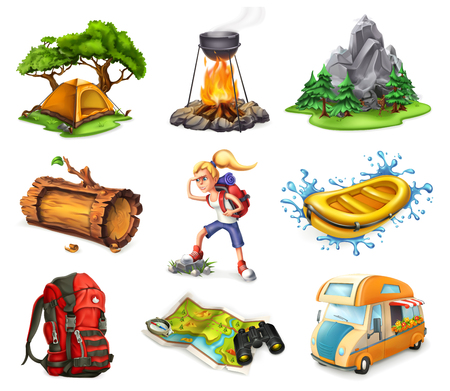 Camp and adventure, 3d vector icons set isolated on white background Stock Illustratie