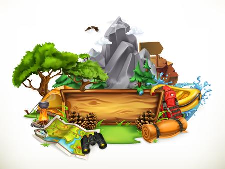 Campeggio ed avventura, illustrazione di vettore 3d isolata su fondo bianco Vettoriali