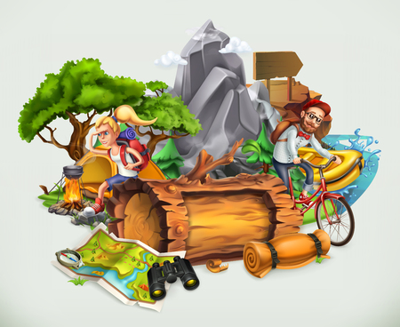 Camping and adventure, vector illustration isolated on white background
