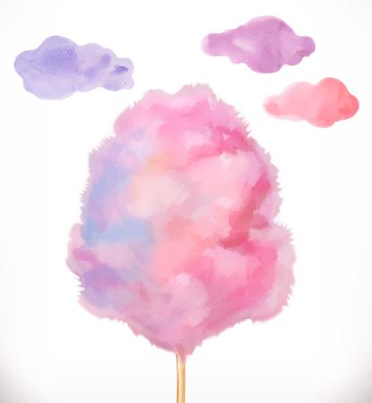 Wata cukrowa. Chmury cukru. Ilustracja wektorowa akwarela na białym tle