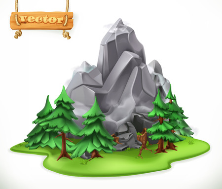 Forest and mountain FOR Camping 3d vector icon Illustration
