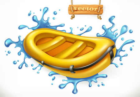 Inflatable boat ON White water rafting, 3d vector icon isolated on white background
