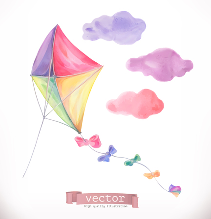 Kite ON Watercolor vector illustration isolated on white background