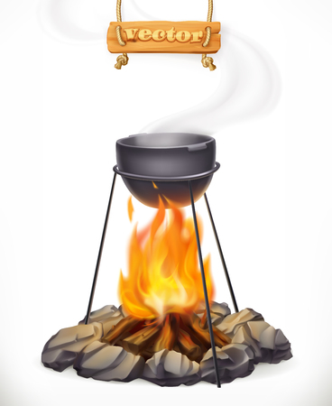 Pot over the campfire FOR Camping, outdoor cooking 3d vector icon isolated on white background Illustration