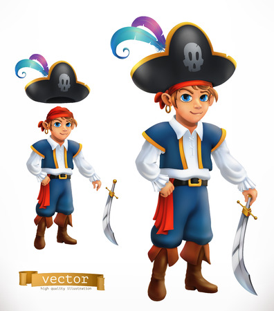 Boy pirate wit complete attire. 3d vector icon Illusztráció