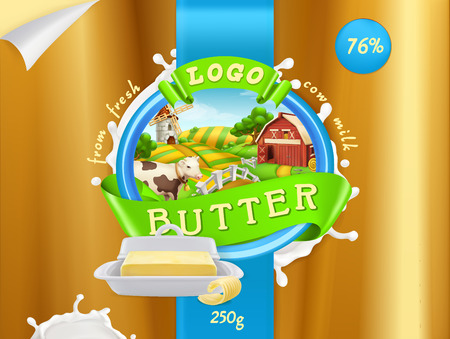 Butter or milk farm icon. 3d realistic vector, package design Illustration