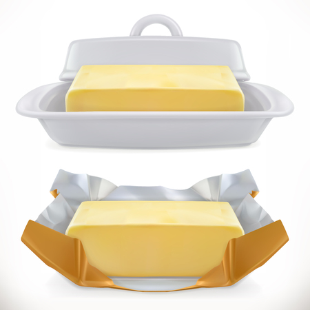 Butter icon. 3d realistic vector icon