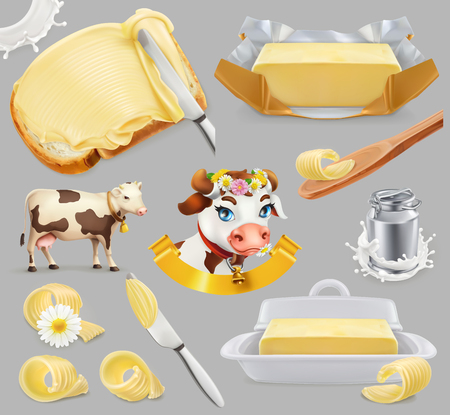 Butter and Milk farm icon with cow, milk and butter. 3d realistic vector icon set