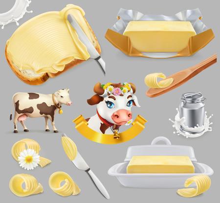 Icona di fattoria di burro e latte con mucca, latte e burro. Insieme realistico dell'icona di vettore 3d