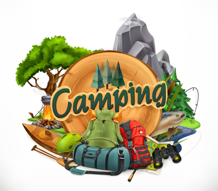 Camping, 3d vector emblem with trees, rocks and camping bags